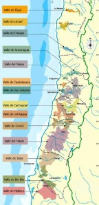 Map of Chilean wine regions