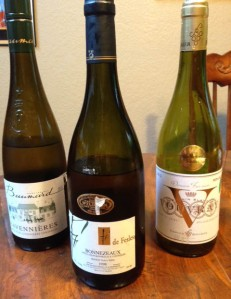 Left to right: a dry Savennières, a lusciously sweet Bonnezeaux, and an off dry Vouvray