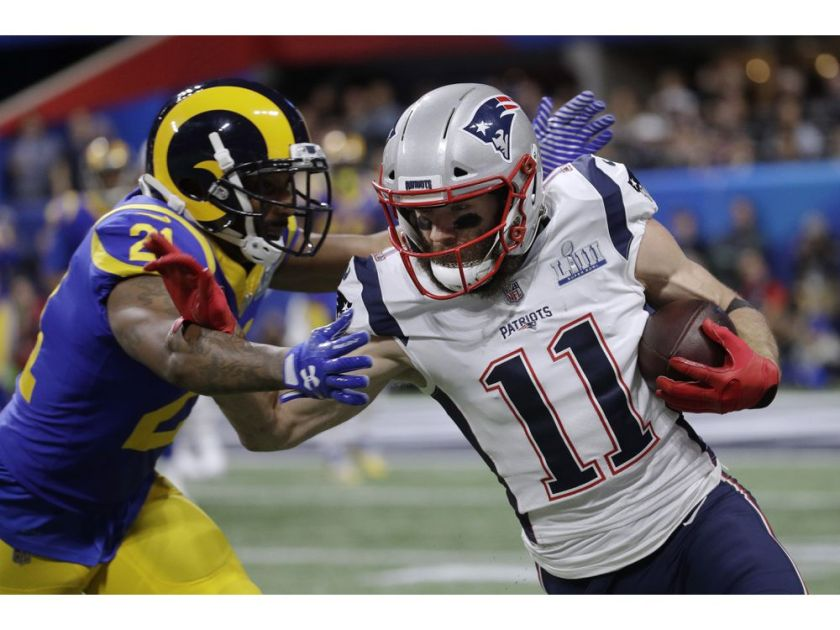 Autographs-original Julian Edelman New England Patriots Football Display Case For Your Signed Ball Distinctive For Its Traditional Properties